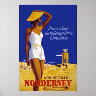 """""""Norderney"""" Vintages deutsches Reise-Plakat Poster"""