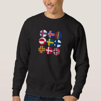 Nordische Flagge Smorgasboard auf Schwarzem Sweatshirt