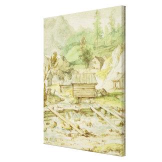 Nordische Landschaft mit hölzerner Hütte und Wehr Gespannte Galeriedrucke