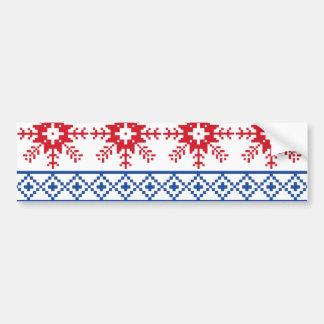 Nordische Weihnachtsschneeflocke-Grenzen Autoaufkleber