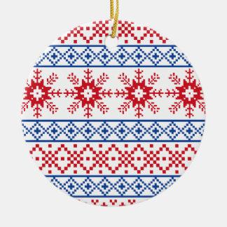 Nordische Weihnachtsschneeflocke-Grenzen Keramik Ornament