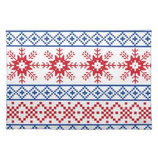 Nordische Weihnachtsschneeflocke-Grenzen Stofftischset