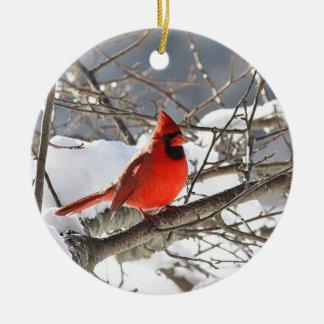 NordKardinal im Schnee Keramik Ornament