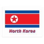 Nordkorea-Flagge mit Namen Postkarte