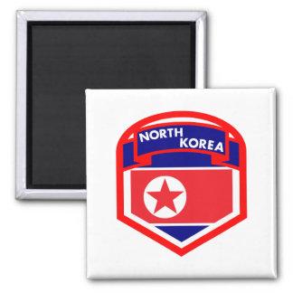 Nordkorea-Flaggen-Wappen Quadratischer Magnet