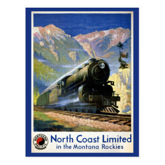 Nordküsten-begrenztes Vintages Reise-Plakat wieder Postkarte