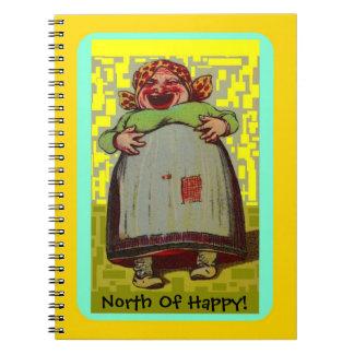 Nördlich glücklicher lachender Dame Journal des Spiral Notizblock