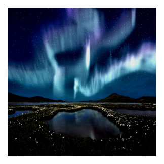 Nordlicht Borealis Norwegen durch heilende Liebe Poster