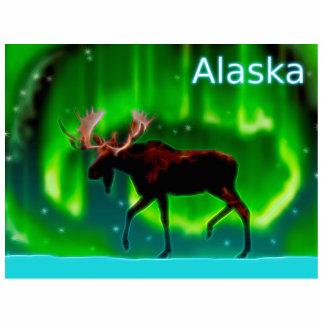 Nordlicht-Elche - Alaska Fotoskulptur Magnet