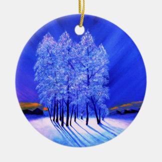 Nordlicht-Weihnachtsschnee-Bäume Rundes Keramik Ornament