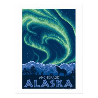 Nordlichter - Anchorage, Alaska Postkarte