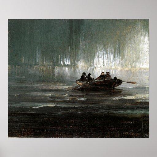 Nordlichter Peder Balke über vier MännerRowboat Poster