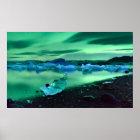Nordlichter über Jokulsarlon See, Island Poster