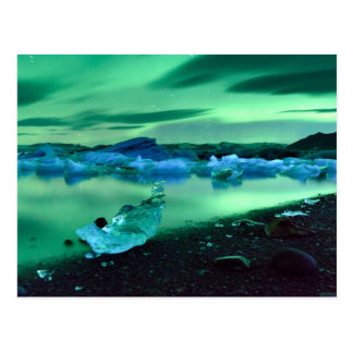 Nordlichter über Jokulsarlon See, Island Postkarte