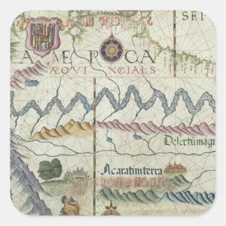Nordsüdamerika, Detail von der Welt Quadrat-Aufkleber
