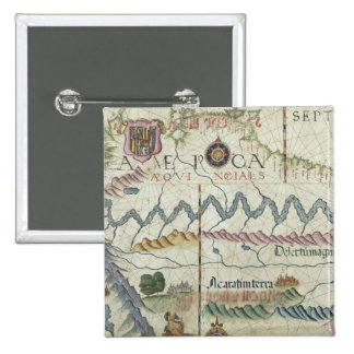 Nordsüdamerika, Detail von der Welt Quadratischer Button 5,1 Cm