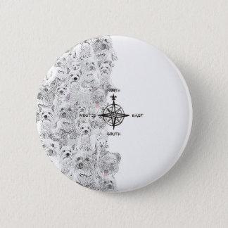 Nordsüdosten u. Westie Hund Runder Button 5,1 Cm