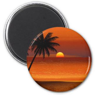 Norduferpostkarte Sonnenuntergangstrandoahus Runder Magnet 5,1 Cm