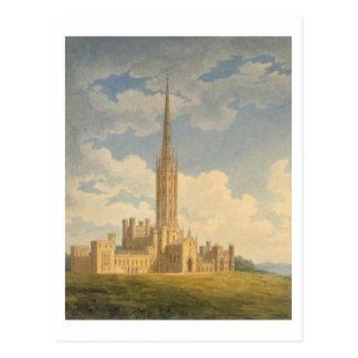 Nordwestansicht von Fonthill Abtei (w/c auf Postkarte