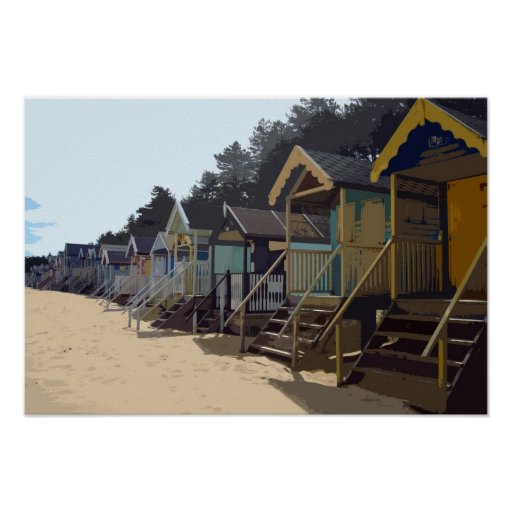 NORFOLK BEACH-HUTS PLAKATE