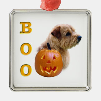 Norfolk Terrier Halloween Boo Silbernes Ornament
