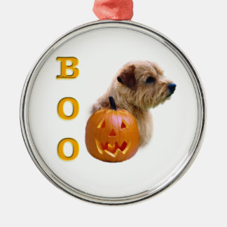 Norfolk Terrier Halloween Boo Silbernes Ornament
