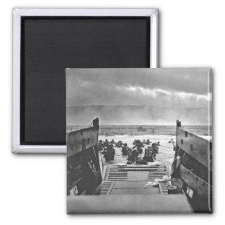 Normandie-Invasion an Invasionstag - 1944 Quadratischer Magnet