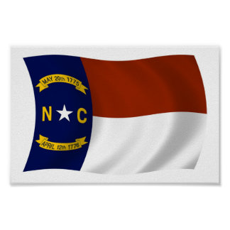 North Carolina-Flaggen-Plakat-Druck Poster