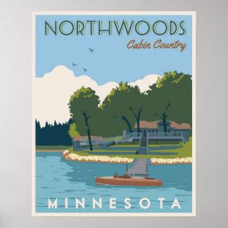 Northwoods Kabinen-Land Poster