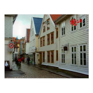 Norwegen, Bergen, hölzerne Häuser und Kopfsteine Postkarte