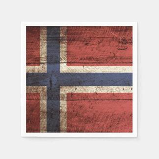 Norwegen-Flagge auf altem hölzernem Korn Servietten