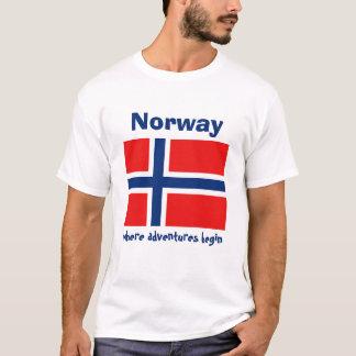 Norwegen-Flagge + Karte + Text-T - Shirt