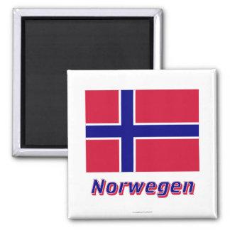 Norwegen Flagge MIT Namen Quadratischer Magnet
