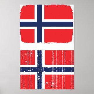Norwegen-Flaggen-Plakat Poster