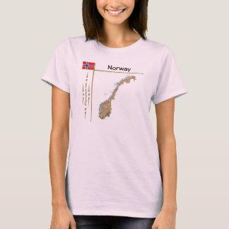 Norwegen-Karte + Flagge + Titel-T - Shirt