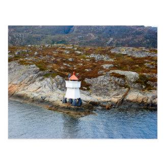 Norwegen, Leuchtturm am Mund eines fijord Postkarte