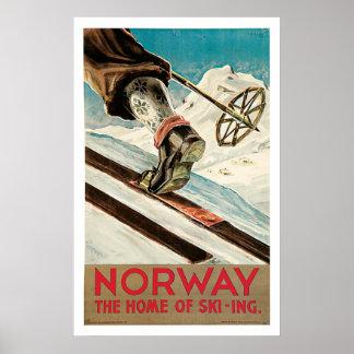 Norwegen-Ski trägt Vintage Reise zur Schau Poster