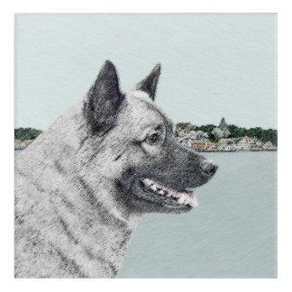 Norweger Elkhound an der Dorf-Malerei - Hundekunst Acryldruck