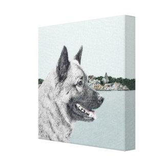 Norweger Elkhound an der Dorf-Malerei - Hundekunst Leinwanddruck