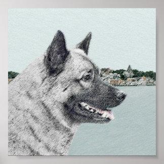 Norweger Elkhound an der Dorf-Malerei - Hundekunst Poster