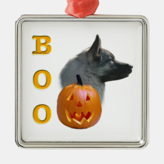 Norweger Elkhound Halloween Boo Silbernes Ornament