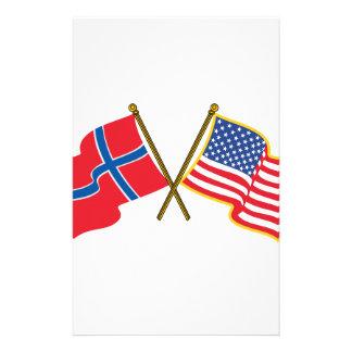 Norwegische amerikanische Flaggen Briefpapier
