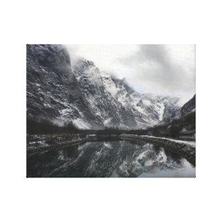 Norwegische Fjord-Leinwand Leinwanddruck