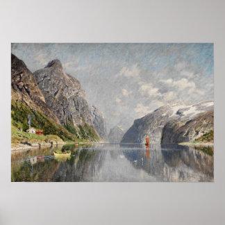 Norwegische Fjordlandschaft Plakat