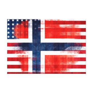 Norwegische | Holz-u. Farben-Anschläge der Flagge- Leinwanddruck