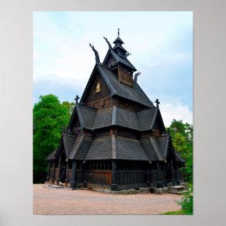 Norwegische mittelalterliche Daube-Kirche, Oslo, Poster