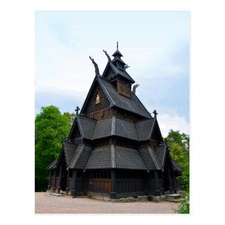 Norwegische mittelalterliche Daube-Kirche Postkarte