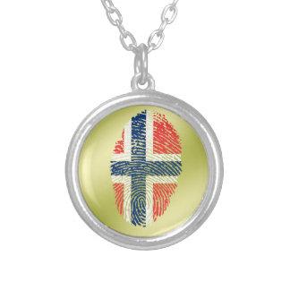 Norwegische Touchfingerabdruckflagge Halskette Mit Rundem Anhänger