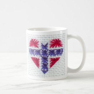 Norwegischer Flaggen-Herz-Kreuz-StichNordic Kaffeetasse