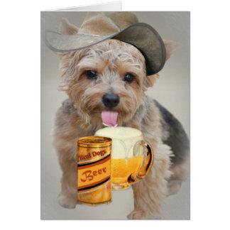Norwich Terrier teilt ein Bier Karte
